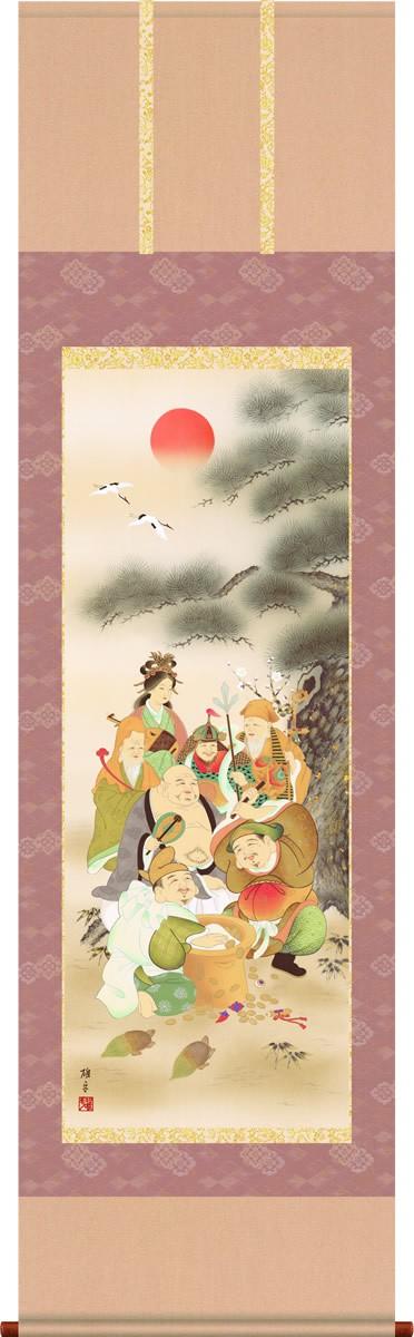 掛軸 掛け軸-【H29】七福神/鵜飼雄平 縁起開運画掛軸送料無料(尺五・桐箱・風鎮付き・緞子)