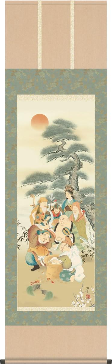 掛け軸 掛軸-【H30】七福神/鵜飼 雄平(尺五・桐箱・風鎮付)和室、床の間に飾る