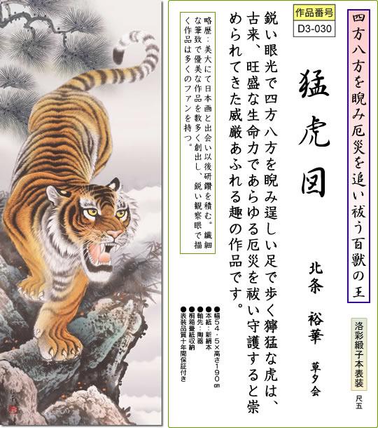 掛け軸-猛虎図/北条裕華(尺五・桐箱・風鎮付き)