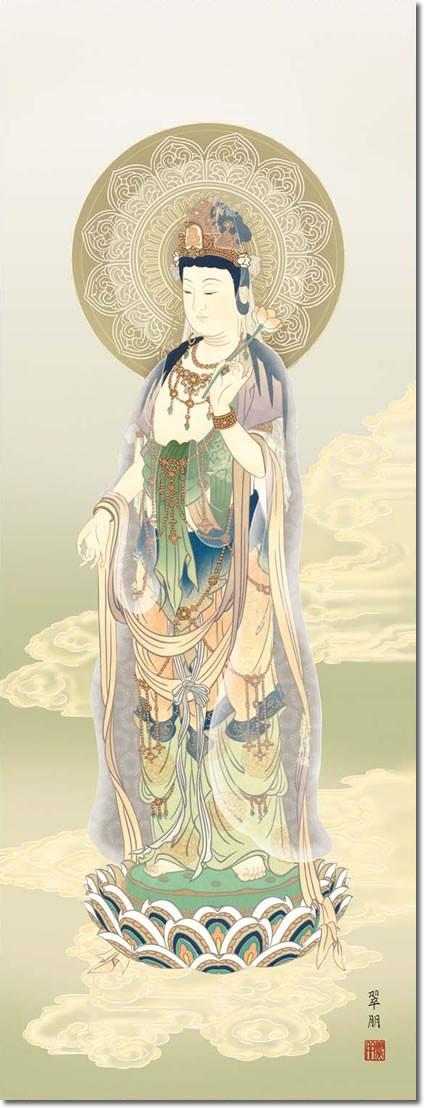 掛け軸 掛軸-【H30】雲上観音/鈴木 翠朋(尺五・桐箱・風鎮付)床の間、仏間に飾る伝統仏画