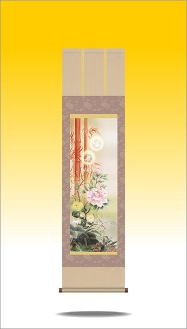 掛け軸-吉祥百花繚乱図/片山 観雪(尺三)