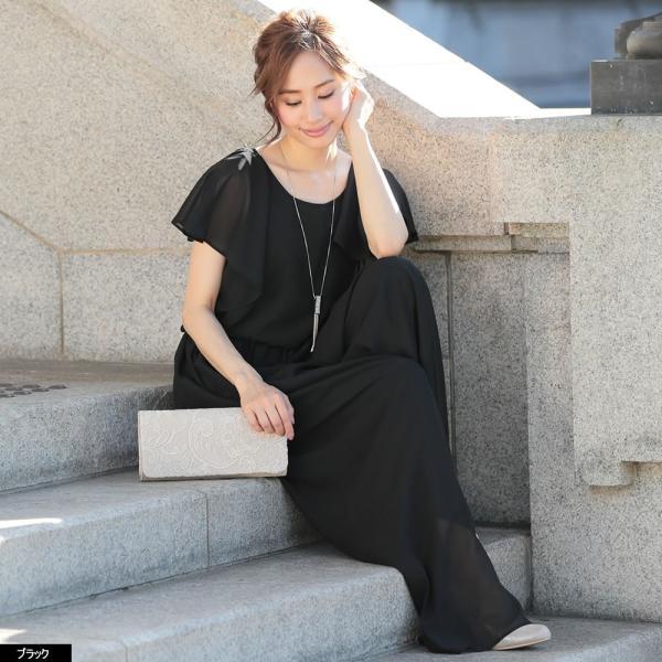 パーティードレス パンツドレス パンツスタイル 20代 30代 結婚式 ネイビー ベージュ ブラック M L LL 3L 大きいサイズ 送料無料|hongkongmadam|24