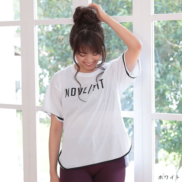 ヨガウェア レディース 半袖 トップス Tシャツ ロング丈 メッシュ M L XL ホワイト ピンク グリーン|hongkongmadam|22