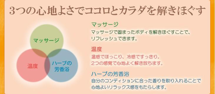 解き放つ、ボディストレス。マッサージ 温度 ハーブの芳香浴ポイントは3つ。それぞれの要素が、互いに働きかけることで、ココロとカラダを解きほぐしていきます。温と冷、2つの感覚によってめぐりを良くし、心もゆったり落ち着きます。固まったボディを解きほぐすことでリフレッシュできます。自分のコンディションに合った香りを取り入れることでストレスを心地よく解き放ちます。