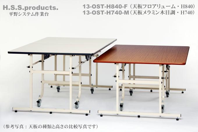 折りたたみ作業台 中型 天板と、H840とH740のサイズ比較