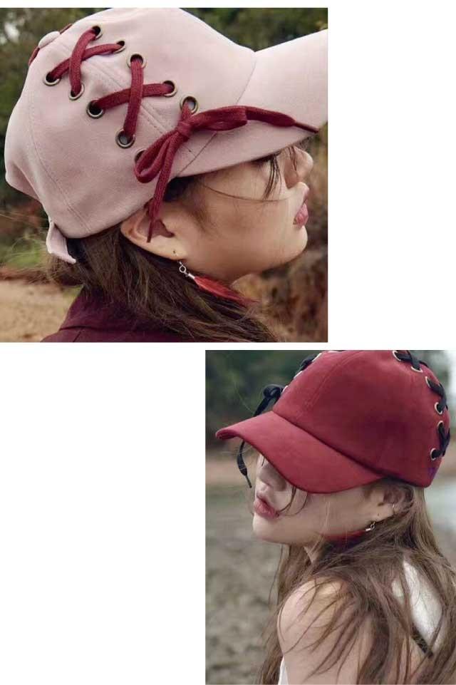 レースアップ野球帽
