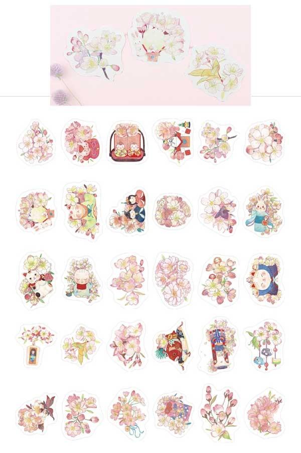桜とイラストが可愛いポストカード