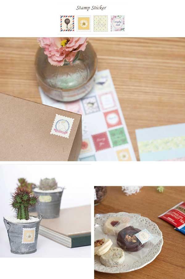 切手&小花柄デコシール