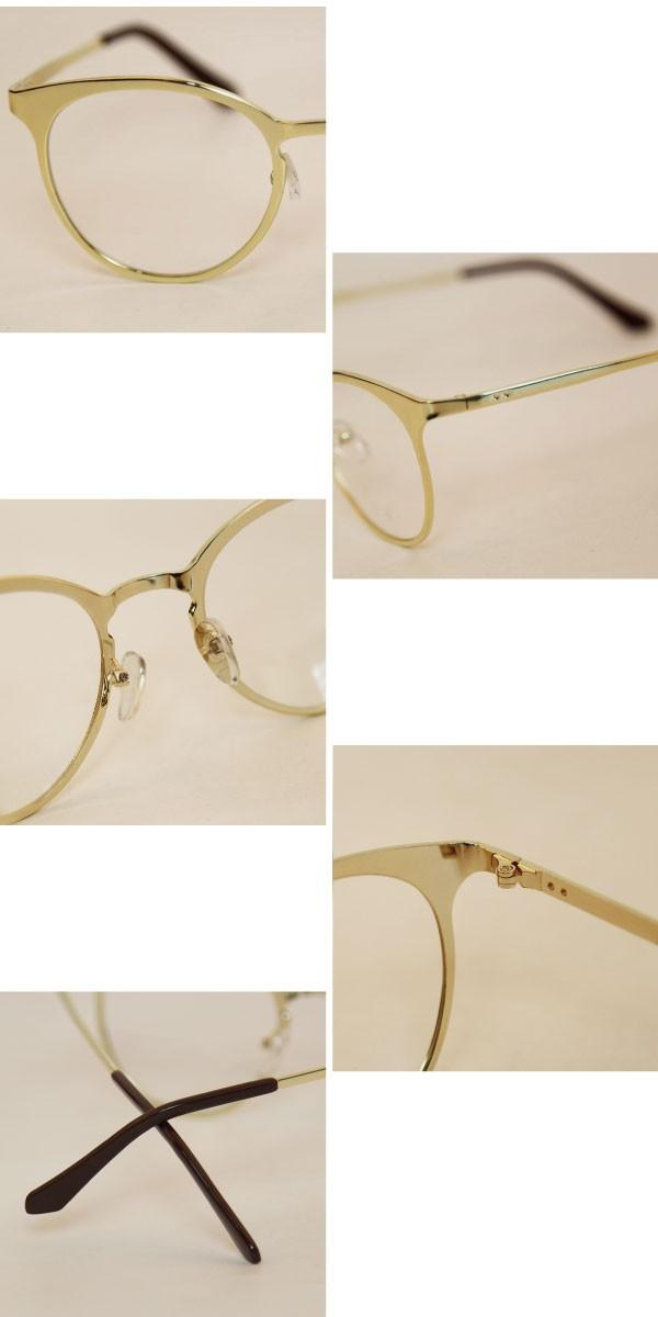 男女兼用メタル素材のウェリントンメガネ