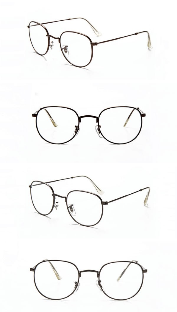 男女兼用のレトロな丸みのあるスクエアフレーム伊達眼鏡
