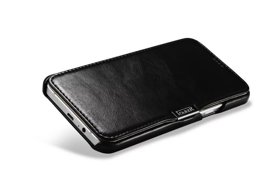 GALAXY A8 カード収納付きビンテージレザーケースの黒の受話穴側