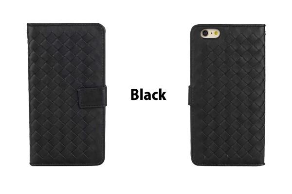 iPhone5/5s/6/6s/6plus/6sPlus/GalaxyS6のボッテガ風編み込みレザーケースのブラック