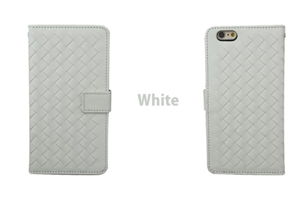iPhone5/5s/6/6s/6plus/6sPlus/GalaxyS6のボッテガ風編み込みレザーケースのホワイト