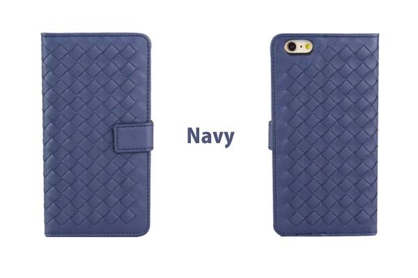 iPhone5/5s/6/6s/6plus/6sPlus/GalaxyS6のボッテガ風編み込みレザーケースのネイビー