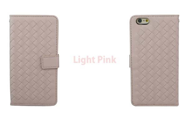 iPhone5/5s/6/6s/6plus/6sPlus/GalaxyS6のボッテガ風編み込みレザーケースのライトピンク