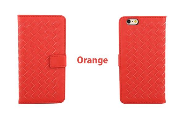 iPhone5/5s/6/6s/6plus/6sPlus/GalaxyS6のボッテガ風編み込みレザーケースのオレンジ