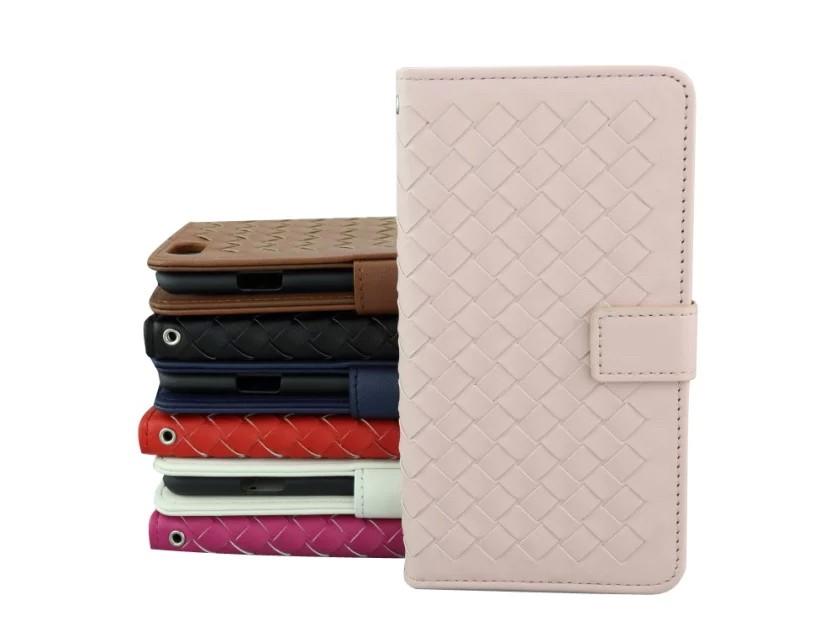 iPhone5/5s/6/6s/6plus/6sPlus/GalaxyS6のボッテガ風編み込みレザーケースのピンク色
