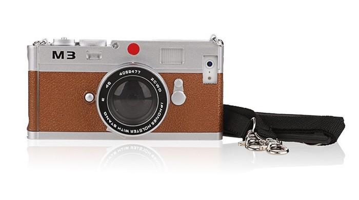 立体カメラ型iPhone6/5/5sスマホケースのブラウン