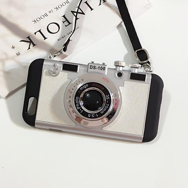 立体カメラ型iPhone6/6s/6plusスマホケースのホワイト