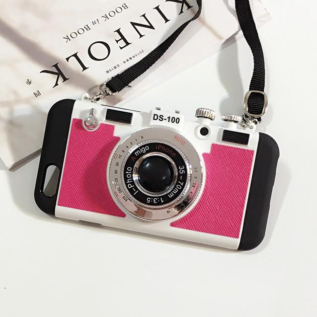 立体カメラ型iPhone6/6s/6plusスマホケースのローズピンク
