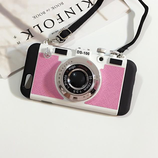 立体カメラ型iPhone6/6s/6plusスマホケースのライトピンク