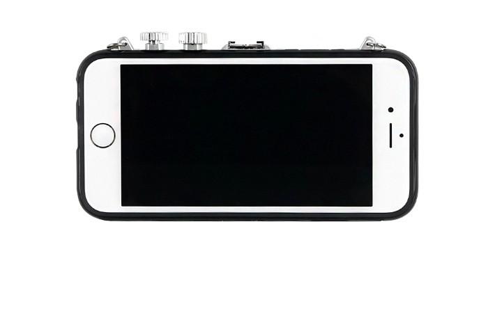 立体カメラ型iPhone6/6s/6plusスマホケースのブラック液晶側