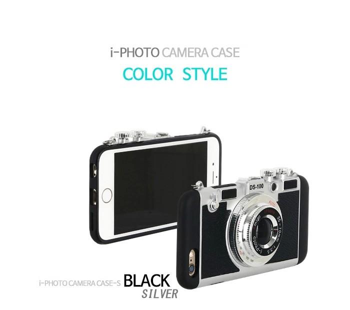 立体カメラ型iPhone6/6s/6plusスマホケースの黒