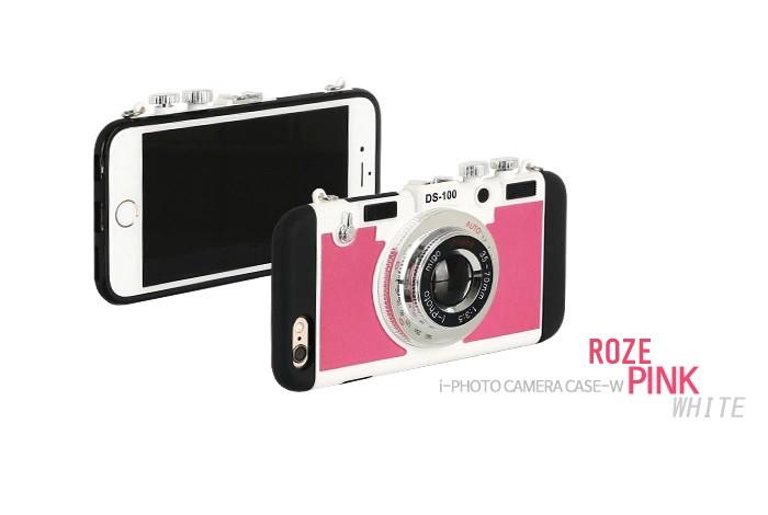立体カメラ型iPhone6/6s/6plusスマホケースの濃いピンク