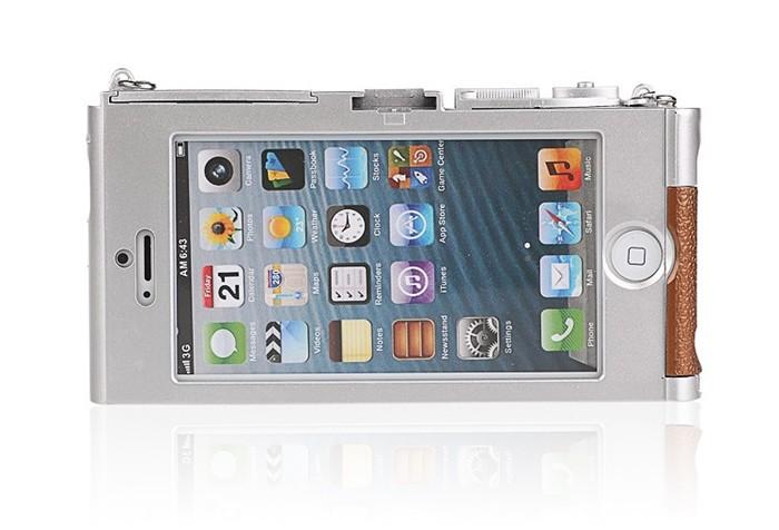 立体カメラ型iPhone6/5/5sスマホケースのアイフォン装着イメージ