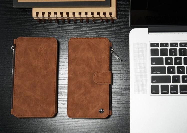 iPhone6/6s/6Plus/6sPlus/Galaxys6edgePlus/note5のカード収納14枚の多機能ウォレットケースのブラウン