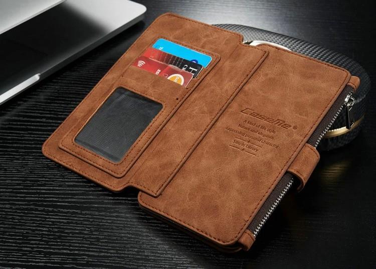 iPhone6/6s/6Plus/6sPlus/Galaxys6edgePlus/note5のカード収納14枚の多機能ウォレットケースのブラウン3
