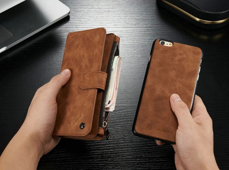 iPhone6/6s/6Plus/6sPlus/Galaxys6edgePlus/note5のカード収納14枚の多機能ウォレットケースの茶色スマホ取外し