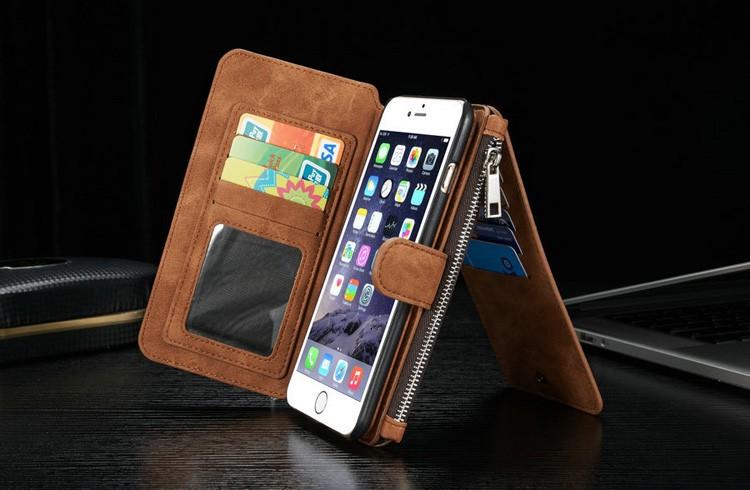 iPhone6/6s/6Plus/6sPlus/Galaxys6edgePlus/note5のカード収納14枚の多機能ウォレットケースの茶色使用イメージ