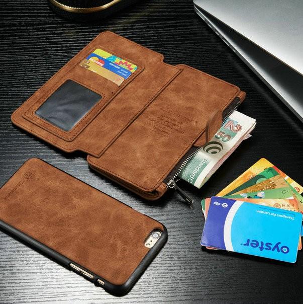 iPhone6/6s/6Plus/6sPlus/Galaxys6edgePlus/note5のカード収納14枚の多機能ウォレットケースの茶色使用イメージ2