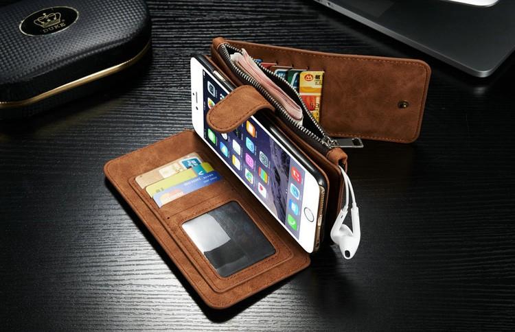 iPhone6/6s/6Plus/6sPlus/Galaxys6edgePlus/note5のカード収納14枚の多機能ウォレットケースの茶色使用イメージ3