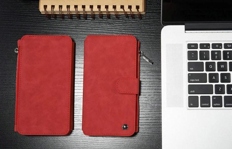 iPhone6/6s/6Plus/6sPlus/Galaxys6edgePlus/note5のカード収納14枚の多機能ウォレットケースのレッド