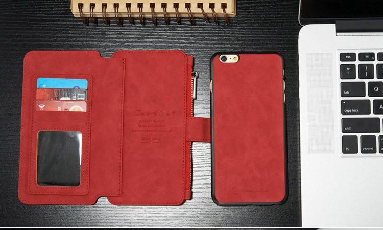 iPhone6/6s/6Plus/6sPlus/Galaxys6edgePlus/note5のカード収納14枚の多機能ウォレットケースのレッド2