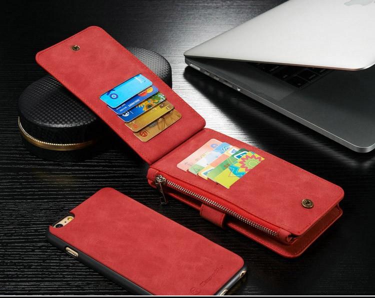 iPhone6/6s/6Plus/6sPlus/Galaxys6edgePlus/note5のカード収納14枚の多機能ウォレットケースの赤色使用イメージ