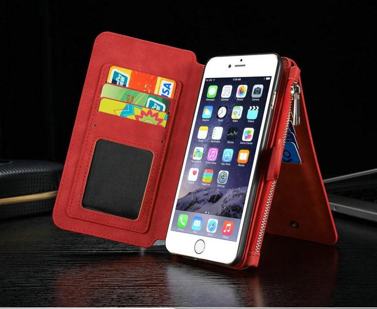 iPhone6/6s/6Plus/6sPlus/Galaxys6edgePlus/note5のカード収納14枚の多機能ウォレットケースの赤色使用イメージ2