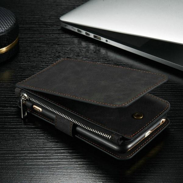 iPhone6/6s/6Plus/6sPlus/Galaxys6edgePlus/note5のカード収納14枚の多機能ウォレットケースの黒色使用イメージ