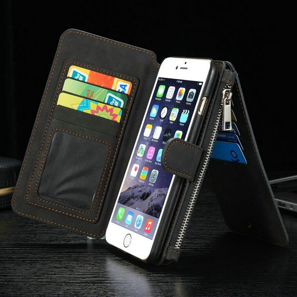 iPhone6/6s/6Plus/6sPlus/Galaxys6edgePlus/note5のカード収納14枚の多機能ウォレットケースの黒色使用イメージ2