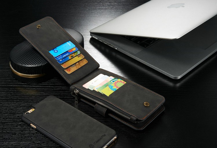 iPhone6/6s/6Plus/6sPlus/Galaxys6edgePlus/note5のカード収納14枚の多機能ウォレットケースのブラック使用イメージ