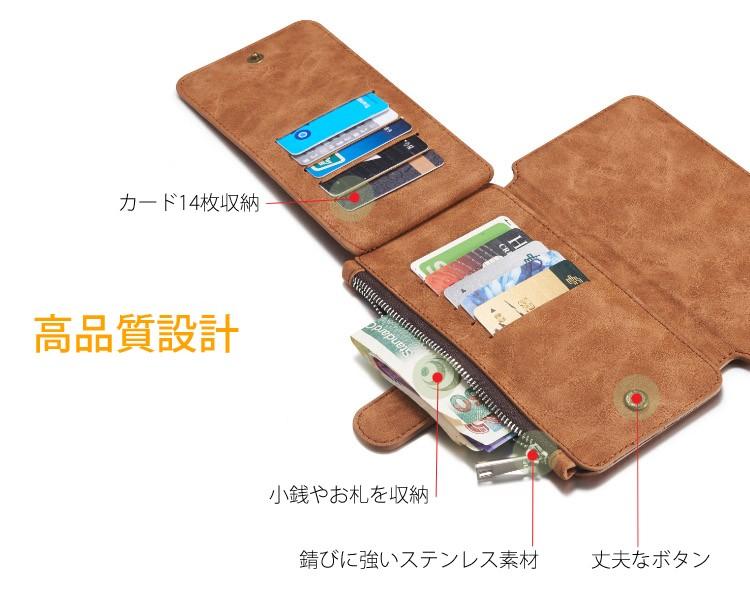 iPhone6/6s/6Plus/6sPlus/Galaxys6edgePlus/note5のカード収納14枚の多機能ウォレットケースの高品質設計