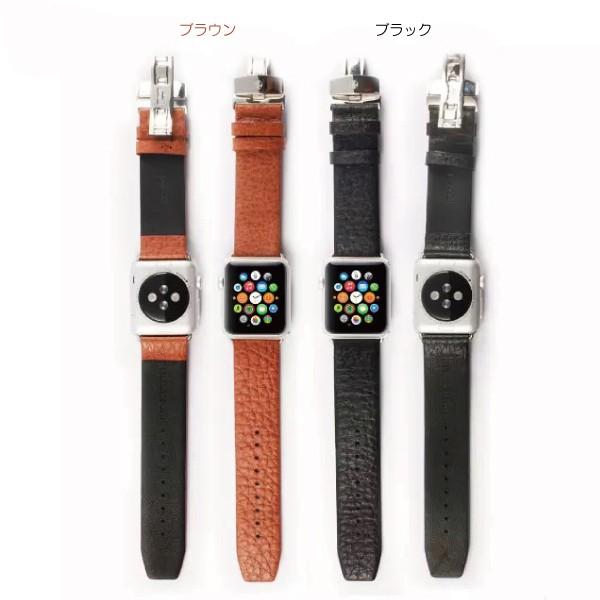 apple watch特徴的なバックルの本革バンド カラーバリエーション2色