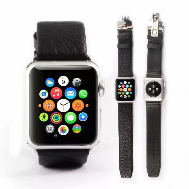 apple watch特徴的なバックルの本革バンドトップ画像2
