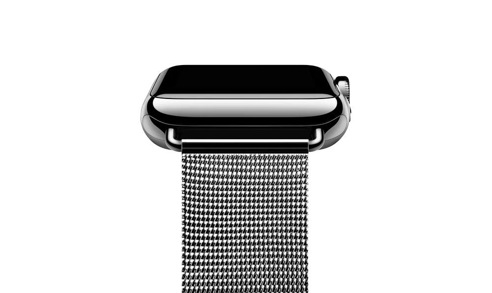 apple watch 高級ステンレスベルトの接続部分のアップ