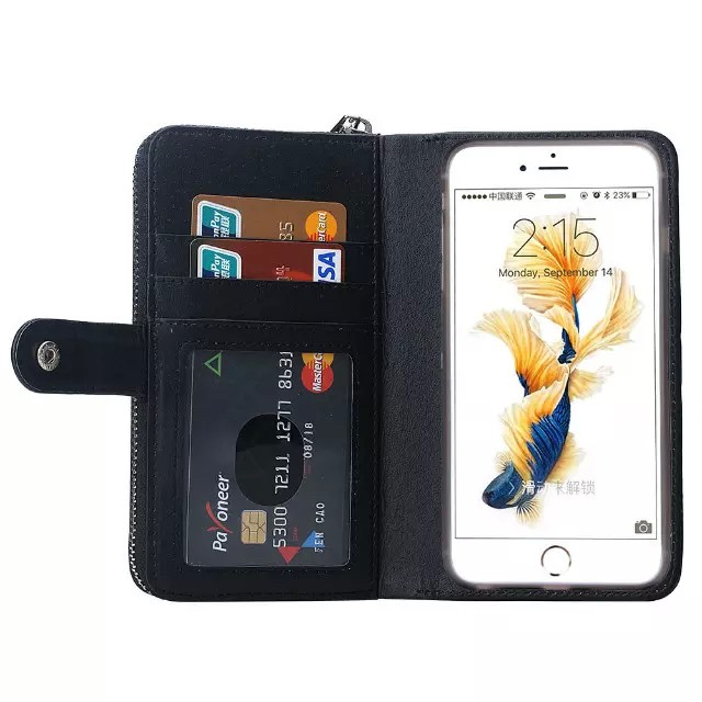 iPhone6/6s/6Plus/6sPlus/GALAXY対応ボッテガ風財布型ケースの内側カード収納