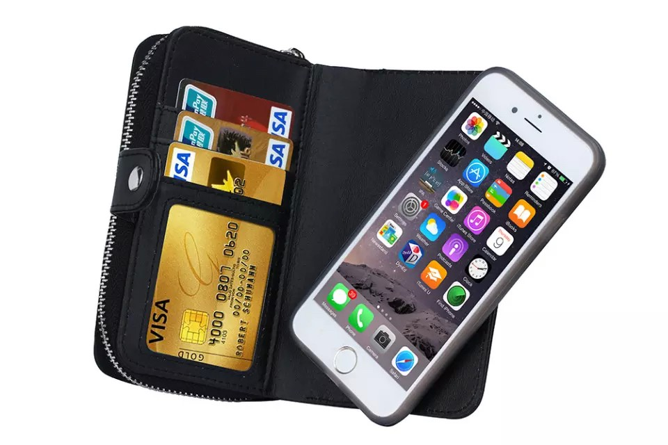 iPhone6/6s/6Plus/6sPlus/GALAXY対応ボッテガ風財布型ケースのスマホ取り外しイメージ2