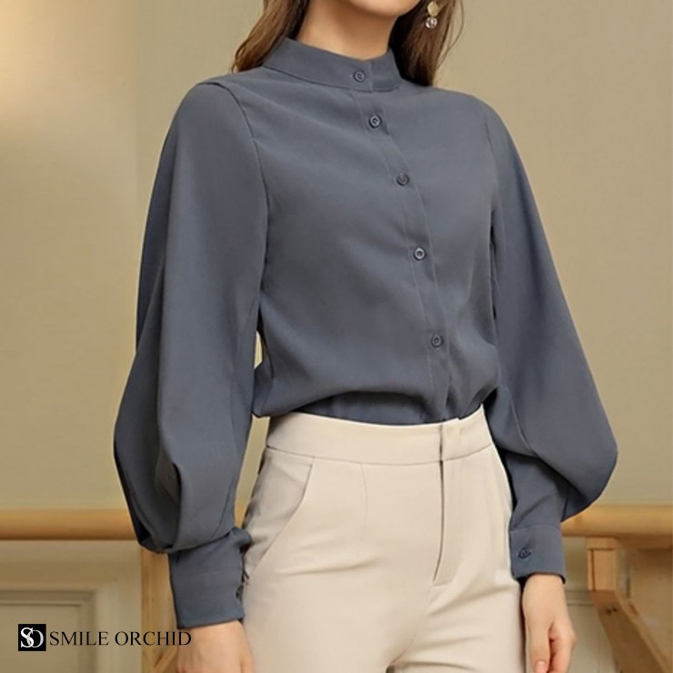 バルーン 袖 バンドカラー チュニック シャツ tops00020|icecrystal|22