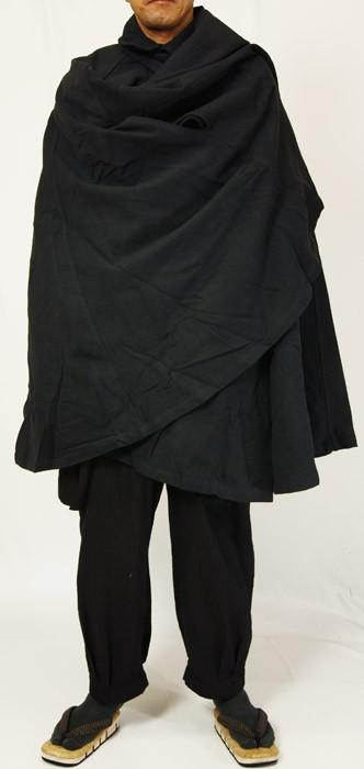 着物,和装,男物,和風,マント,コート,黒,カジュアル,普段着用,綿,着物用,作務衣用,金田一耕助,まんと,バンから,ばんから,バットマン